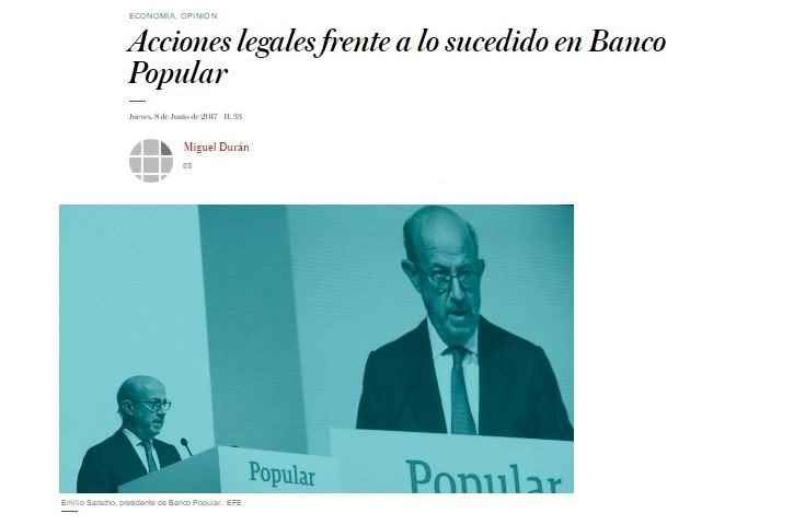 Miguel Durán comenta sobre las acciones legales y la (posible) indemnización Banco Popular