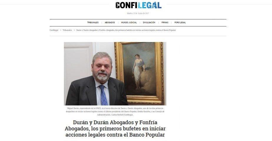 Miguel Durán defiende a sus clientes que quieren denunciar la quiebra del Banco Popular