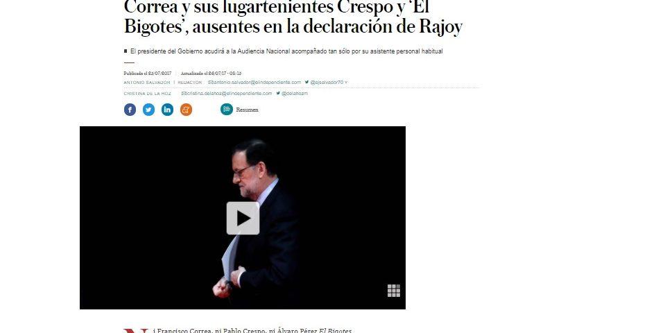 Miguel Durán explica la ausencia de Pablo Crespo en la declaración de Rajoy